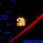A picture of a car engine warning light