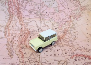 Image displays a toy car placed on a map